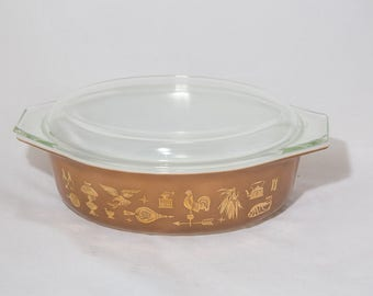 Vintage Pyrex Early American Heritage Print 045 36 Brown Gold Metallic with Glass Lid