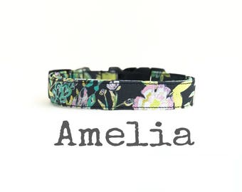 Girl Dog Collar, DOG COLLARS, The AMeLia, Dog Collar, Pretty Dog Collar, Dog Collars for Girls, Floral Dog Collar