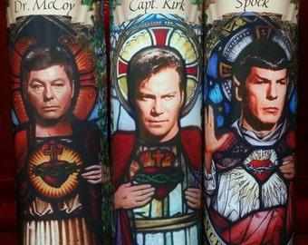 Cast of Star Trek - 1960s: Spock, Capt Kirk and Dr. McCoy - 3 Celebrity Church Window Saint Prayer Candles