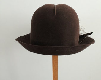 Vintage 1970's Brown Felt Nadelle Hat with Ostrich Feathers