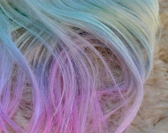 Weft Mohair Straight Turquoise to Pink Cotton Candy Ombre