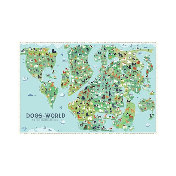 Dogs of the world map 36x24 art print 2018 edition gumiabroncs Choice Image