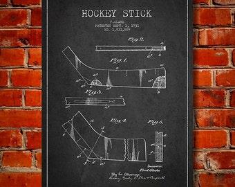 1931 Hockey Stick Patent, Canvas Print,  Wall Art, Home Decor, Gift Idea
