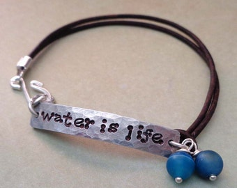 Water is Life- Standing Rock -Activist Bracelet - Environment Warrior Nature Protector - Save The Earth -Earth Warrior Water Protector-B59