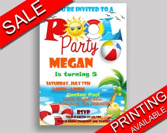 PoolParty Birthday Invite PoolParty Birthday Party Invite PoolParty Birthday Party PoolParty Invite Boy Girl colorful birthday bash U1RJU