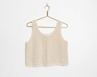 Moda Int'l Sweater / Off White Cotton Crochet Tank / Scalloped Hem / Vintage 80s - 90s Cropped Sleeveless Pullover