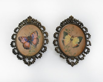 "Original Art, Victorian Butterfly Painting Series ""Pink & Yellow"" Framed in Vintage Metal Filagree by Carrie Jackson"