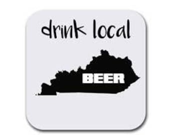 Kentucky State Map Coaster Set - Drink Local - Six (6) Table Drink Coasters - Absorbent | Furniture Safe - Decor Gifts - Quality Neoprene