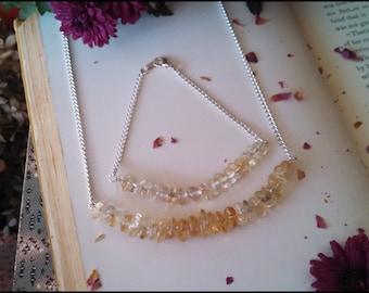 Citrine Jewelry Set ~ Citrine Necklace And Bracelet ~ Citrine Quartz Crystal Necklace ~ Yellow Quartz Jewelry