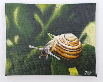 Original art, snail on a leaf, mini acrylic painting