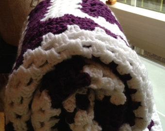 Handmade Crochet unisex Baby afghan/ blanket,  Crochet Baby Blanket, Crochet stroller cover, White/purple color,  Baby shower, Medium size