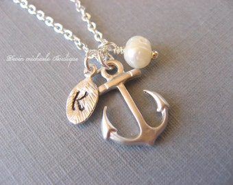 Personalized Hand Stamped Initial Anchor Necklace, Nautical Necklace, Pearl Necklace, Anchor Pendant, Anchor Jewelry