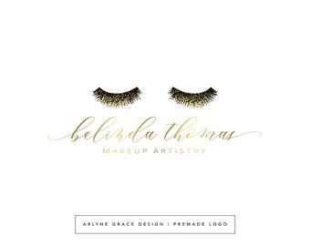 Premade Logo Design - Eyelash Logo - Makeup Artist Logo - Eyes Logo - Gold Logo - Glitter Logo - Business Logo - Branding Kit Package