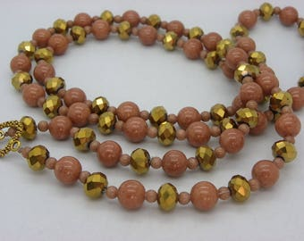 Necklace in camel beige jade and crystal glass dangles 15 with clasp