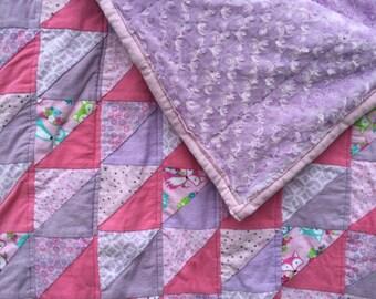 Custom Baby Quilt, Baby Blanket, Patchwork Quilt, Baby Girl Blanket, Baby Boy Blanket, Made to Order Quilt Handmade, Flannel Triangle Quilt