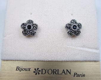 DOrlan Rhodium Plated Pierced Earrings with Marcasite Crystals 0653