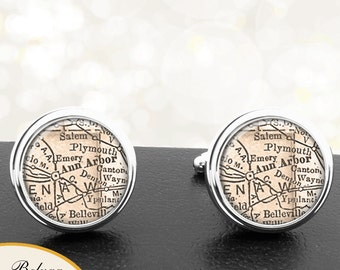 Map Cufflinks Ann Arbor Michigan Handmade Cuff Links City State Maps MI Groomsmen Wedding Party Fathers Dads Men