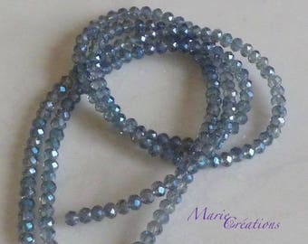 1 strand faceted glass beads - blue steel