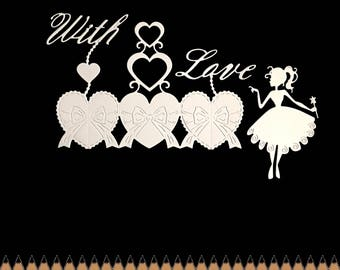 Cuts scrapbooking scrap fairy princess wand heart bow with Word love cut paper decoration die cut embellishment