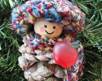 Custom Teacher Pinecone Gnome Christmas Tree Ornament Crocheted Crayon Colored Hat Scarf Holiday Decoration By Distinctly Daisy