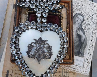 Antique French Paste Flaming Heart, A Marian Talisman for the Passionate, offered by RusticGypsyCreations