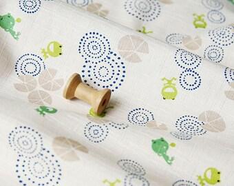 3519 - Japanese Frog Slubbed Cotton Fabric - 43 Inch (Width) x 1/2 Yard (Length)
