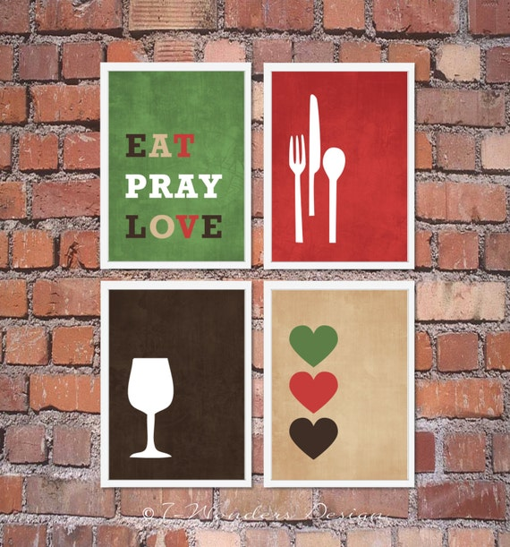 Red And Green Kitchen: Items Similar To Modern Kitchen Wall Art Print Set