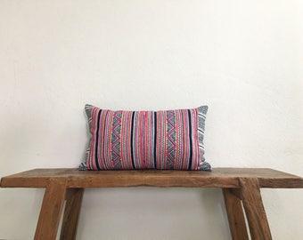 "12"" by 20"" Vintage Hmong Hill Tribe Lumbar Cushion Cover Ethnic Batik Thai"