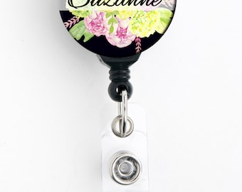 Retractable ID Badge Holder -Pink Green Floral Bouquet - Personalized Name Badge Reel, Steth Tag, Lanyard, Carabiner Nurse Teacher Badge
