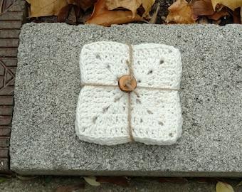 Crocheted Mug Rugs / Set of 4 / Natural / Cotton / Gift Idea Under 20