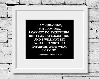 Edward Everett Hale Quote, Life Quote, Success Quote, Literature Quote, Classroom Print