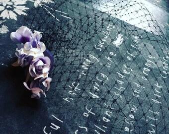 Black birdcage veil with vintage lilac rosebuds