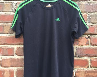 Vintage Adidas Black T-Shirt with Green Stripes Size Small
