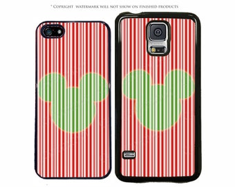 Disney Mickey Candy Cane Stripe Phone Case for Apple iPhone 7, 7 Plus, iPhone 8, Galaxy S8, S8 Plus, S7, S7 Edge, LG, Pixel, XL, Note 8