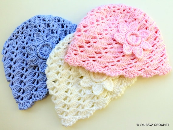 Crochet PATTERN Baby Hat With Flower Pattern Baby Shower