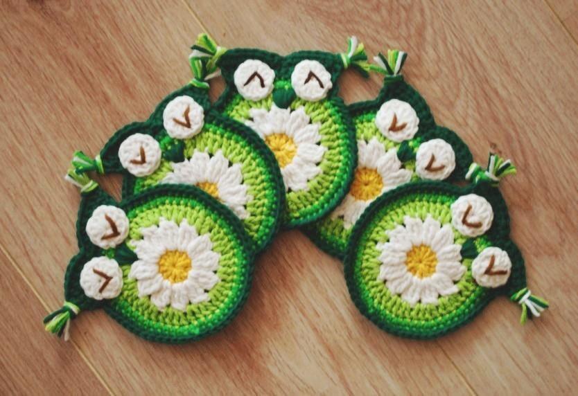 Crochet Daisy Owl Coaster Crochet Owl Coasters Crochet Owl
