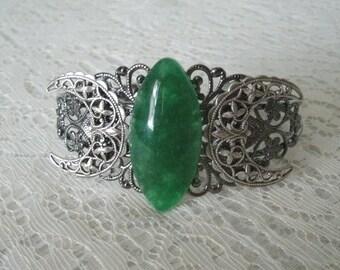 Green Agate Cuff Bracelet boho jewelry bohemian jewelry hippie jewelry gypsy jewelry new age hippie bracelet boho bracelet bohemian bracelet