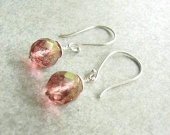Blush Pink Earrings, Pink wedding Earring, Bridesmaid Gift, Sterling Silver, Bridesmaid Earrings, Pink drop earrings, Rose Pink Earrings