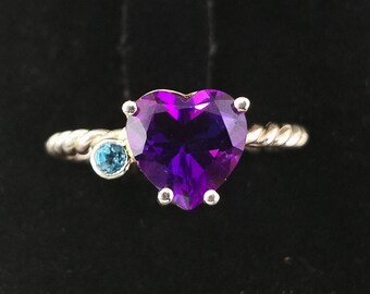 Classic Ring with Amethyst Earth and Topaz