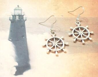 Antiqued Silver Ship Wheel Earrings, Nautical Earrings, Silver Nautical Jewelry, Resort Wear, Beach Wear, Cruise Jewelry