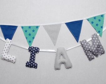 Fabric Baby Boy Name Banner, Navy, Grey,Nursery Wall Letters,Personalized Kids, Baby Gift, Name banner for nursery,Baby Shower, Newborn Gift