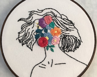 "Flower Face Girl - 7"" Hand Embroidered Hoop Art"