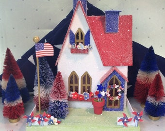 4th of July Patriotic Putz with Red  white & Blue Bottlebrush Trees