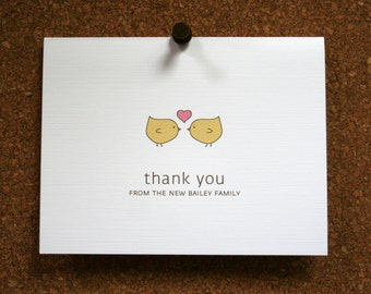 Custom Wedding Stationery / Bridal Shower Thank You Cards / Thank Yous / Love Birds / Heart / New Family / Perfect Wedding Gift / Set of 10