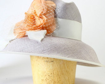 Silver Gray Wide Brim Kentucky Derby Summer Cocktail Fedora Hat,Silk Flower,Ivory Wide Grosgrain,Veil-Millinery/Kate Middleton/Couture/Ascot