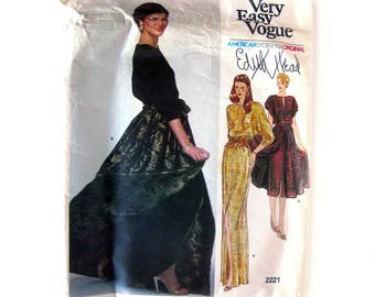 Vintage Edith Head Pattern Evening Dress and Overskirt / Vogue Designer Original Pattern / Vintage Vogue 2221
