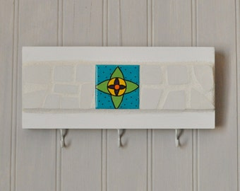 Mosaic Key Holder - Wall Plaque - Broken China Mosaic Tiles - Painted Flower - Recycled