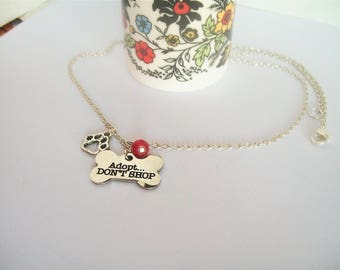 Adopt Necklace, Don't Shop, Rescue Animals, Paw Print, Sanctuaries, Veterinarian, Canine, Feline, Animal Lover, Hello Kitty, Elephants,