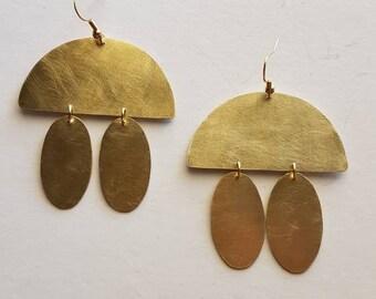 Handmade earrings,brass earrings,mat earrings,geometric earrings,statement earrings,boho earrings,half moon earrings
