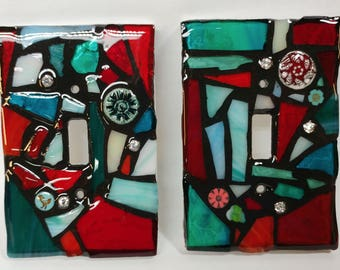 REdS and AQuAS Mix - STAINED Glass MOSAIC Light Switch Cover - single, double, triple, outlet, or decora gfci - made to order